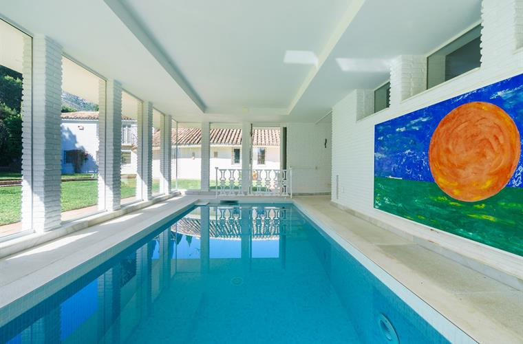 heated indoor pool with powerful jet stream for exercising