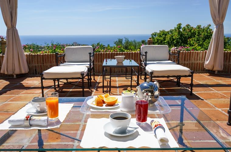 breakfast on main terrace while enjoying the sea view