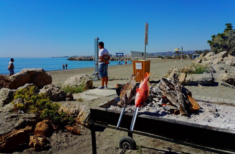fresh fish on the grill, in restaurant  El Saladero, in Caleta