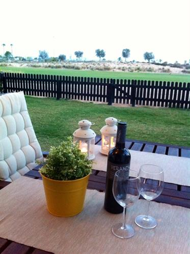 Enjoy a glass of red wine on the terrace