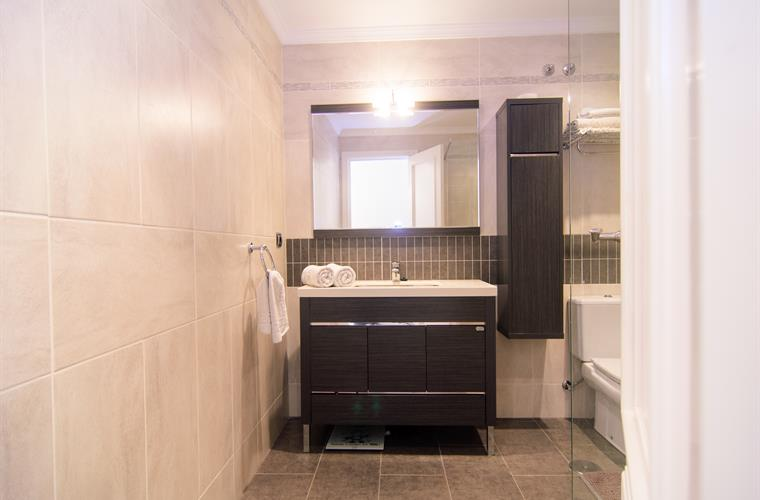 Bathroom with walk in shower, sink and toilet