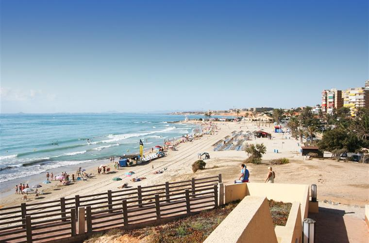 Campoamor Beach from end of El Mirador walkway.