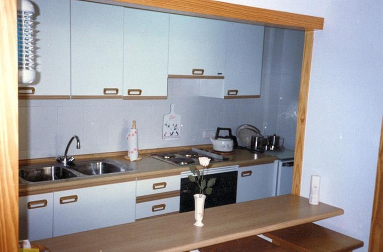 View into kitchen