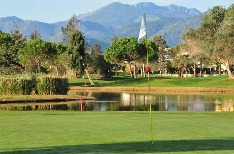 Golf course and mountains view