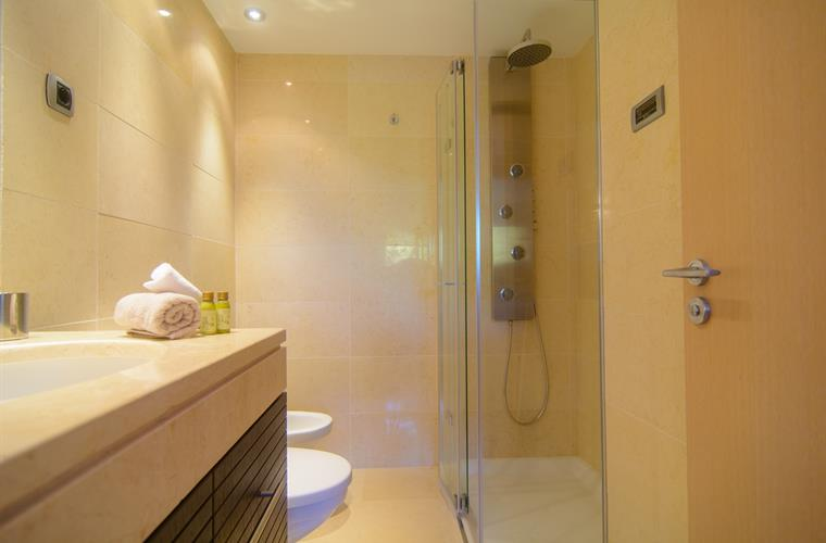 Jacuzzi shower, sink, bidet, toilet in bathroom