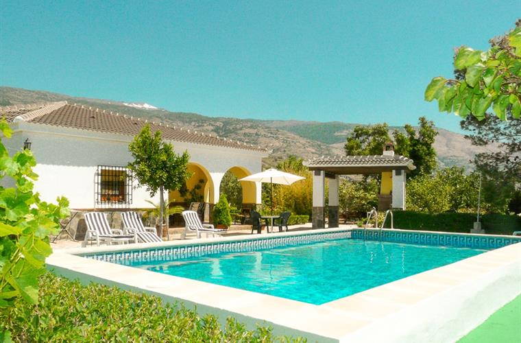 The villa near Orgiva and the private and view secluded pool.