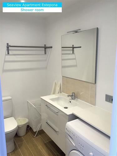 Shower room: toilet, sink, washing machine