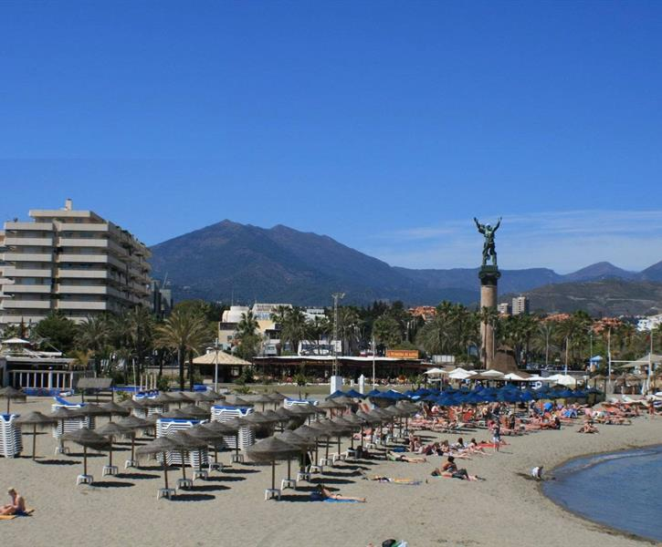 View from Levante Banus Beach onto Marina Banus