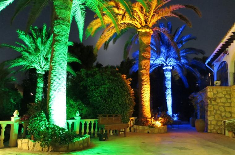 Entrance and Sitting Area- Palms at Night
