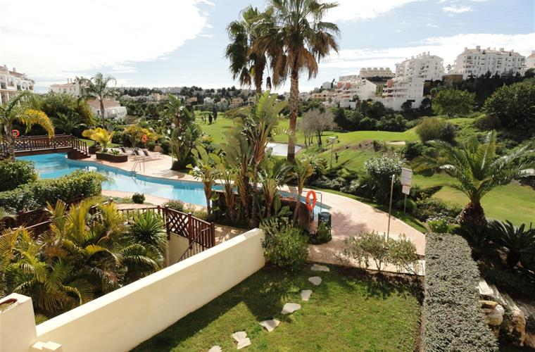View on the garden and swimming pool