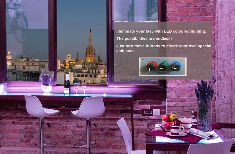 Illuminate your stay with LED coloured lighting.