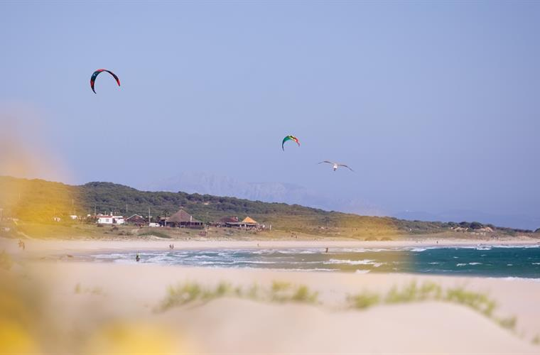 Kite surfing on a nearby beach