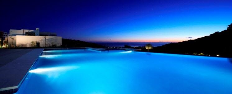 Infinity pool by night