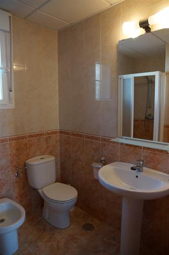 Large bathroom with a toilet, wash basin and a shower