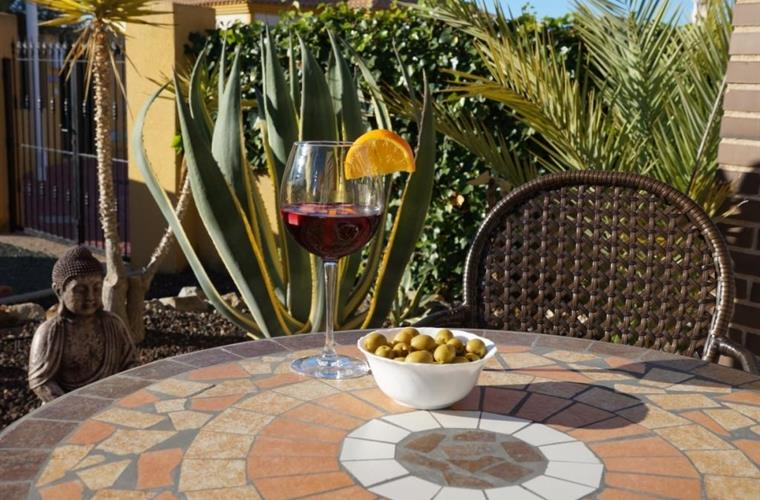 There is plenty of space in the garden to enjoy a glass of Sangria