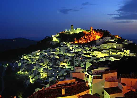 Nearby white village of Casares at night.