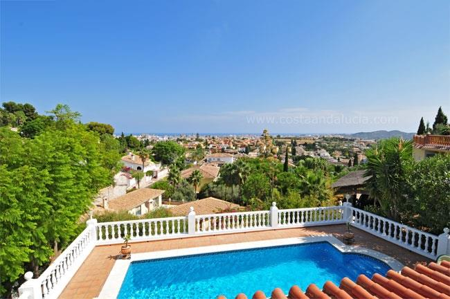 View from the villa towards the sea and Fuengirola