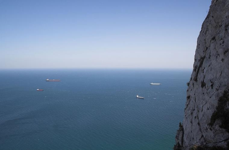 The straights of Gibraltar, where the Atlantic and the Med. meet