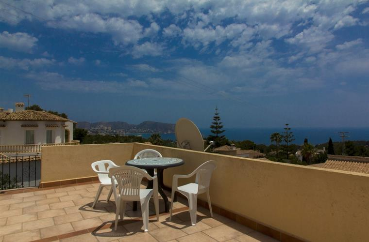 Top sun terrace with sea and mountain view