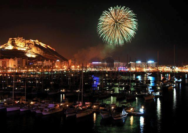 Fireworks seen from Alicante's seaport