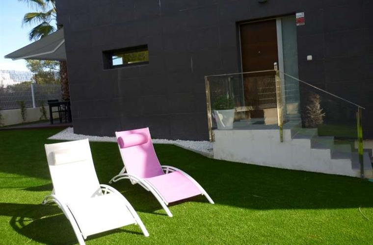 sun loungers in the garden