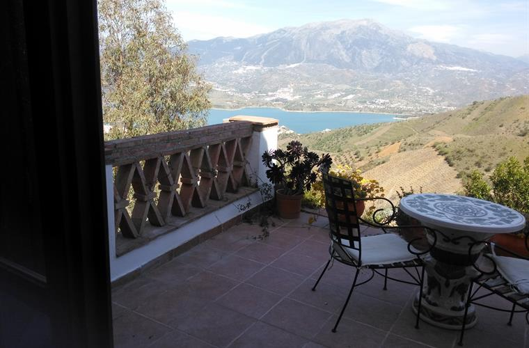 The private terrace of the master bedroom with views of Lake Vinue