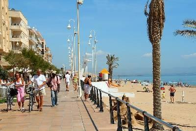 The blue flag beach and beach front bars at Guardamar