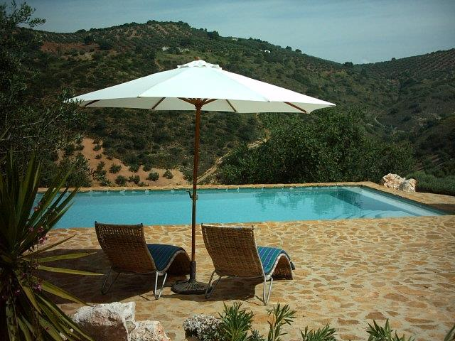 Pool terrace overlooking the olive groves and valley, Las Rosas