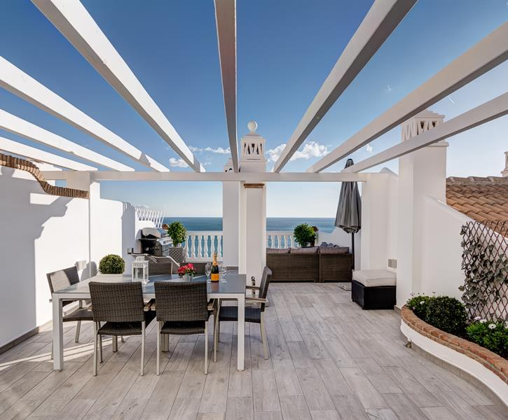 Large 60 sqm. terrace overlooking the Mediterranean sea.
