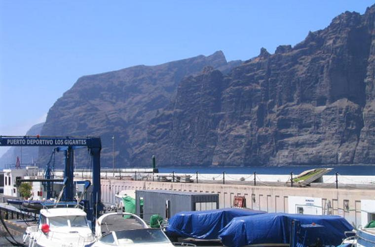 View from terrace: The giants, (Los Gigantes) 600 m high cliffs
