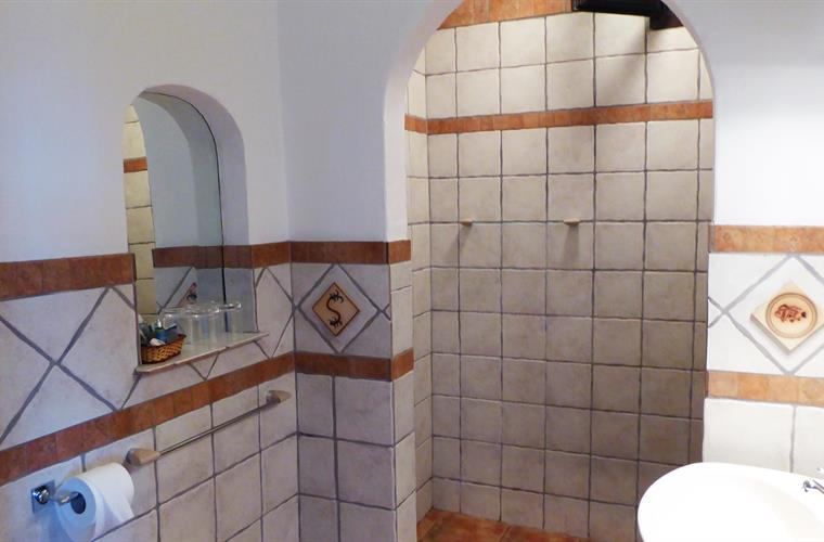 Fully fitted bathroom with large walk in shower.