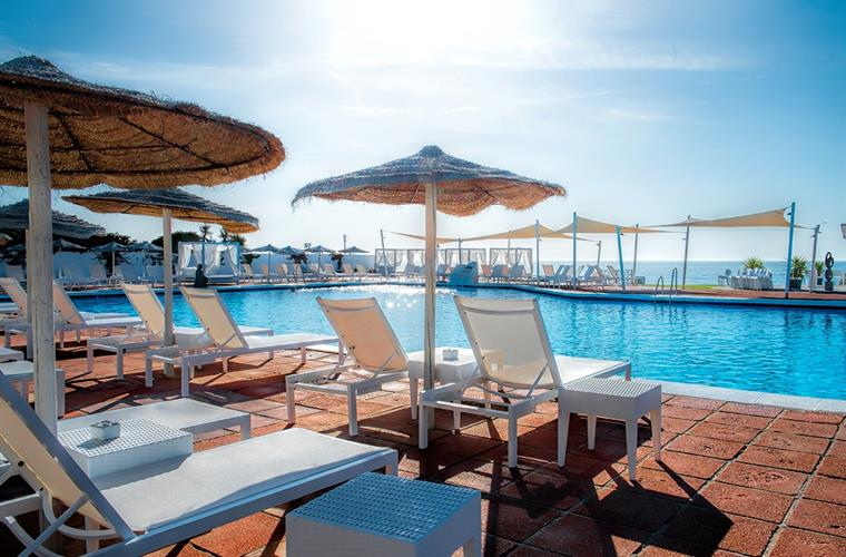 large sea water pool in beach club 2 minutes walk from villa
