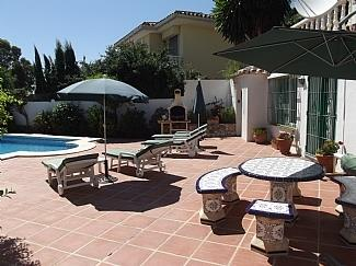 Lower Terrace with Andalucian Tiled Table & BBQ