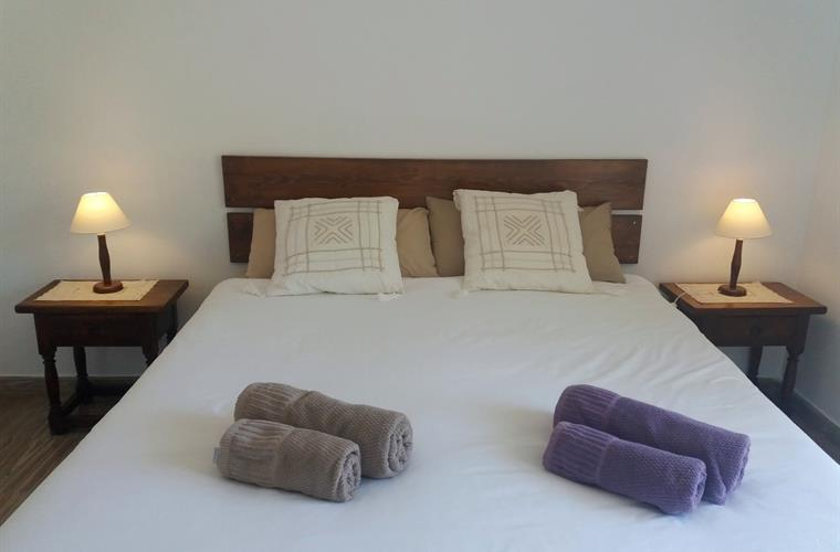 double bed in main room