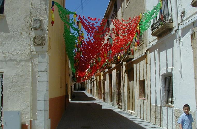colourful local backstreets during fiesta time
