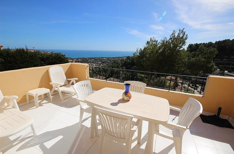 large, south facing balcony with exceptional sea views