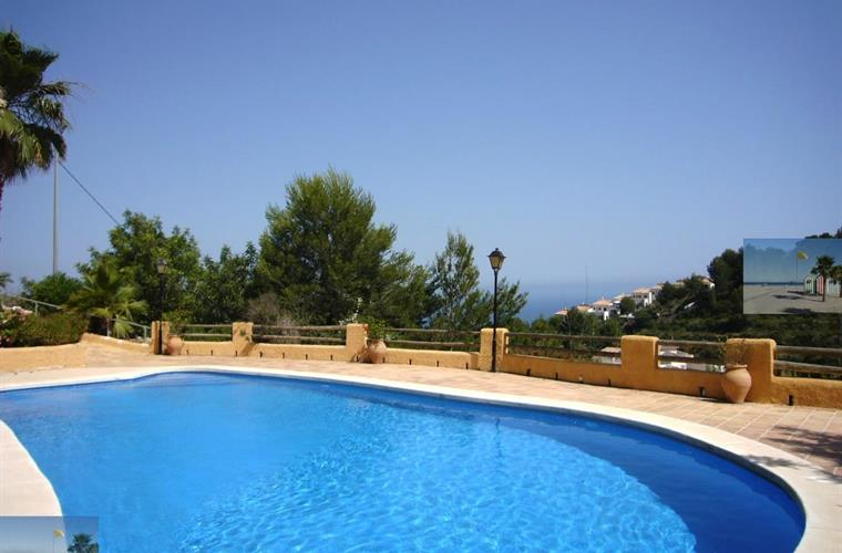 large pool and terrace with spectacular sea views