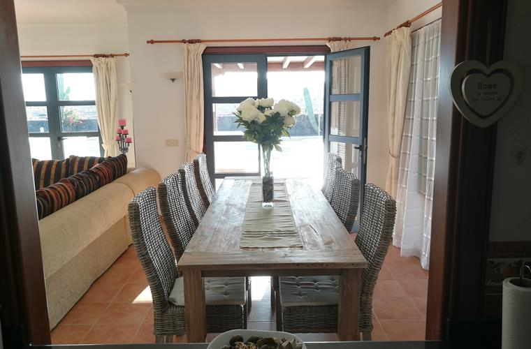 Large wooden dinning table Villa Roma Playa Blanca Costa Papagayo