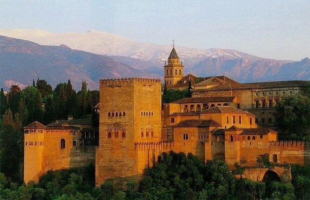 Alhambra Palace, Granada, Sierra Nevada Mountains