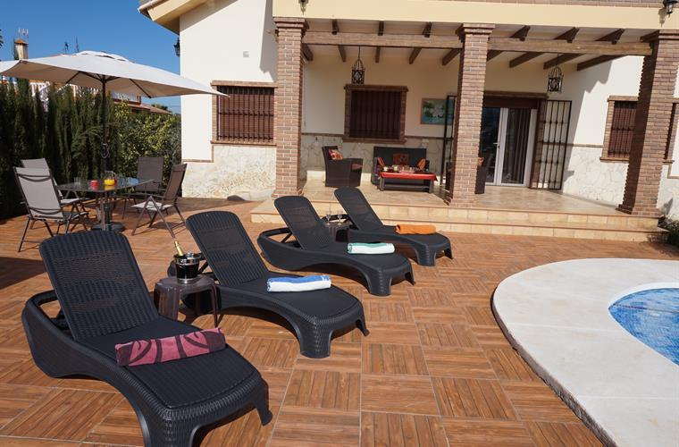 Outdoor area of sun loungers and leisure.