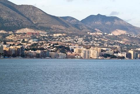 View of Fuengirola beach and mountains