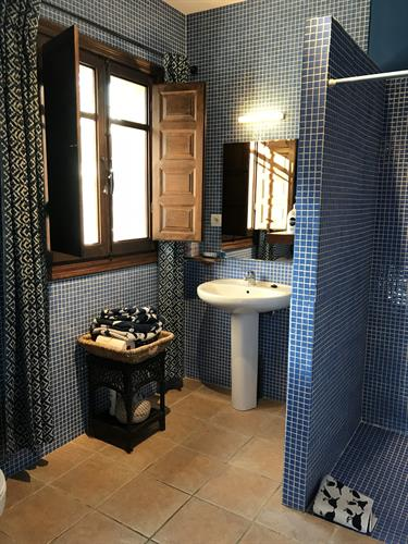 tiled bathroom with large shower