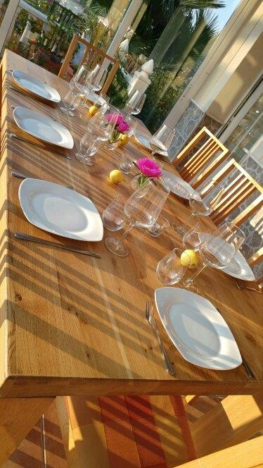 Dining table in the sun-room