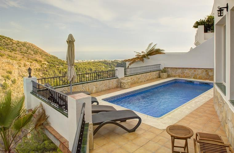 private pool with views of Nerja and the mountains