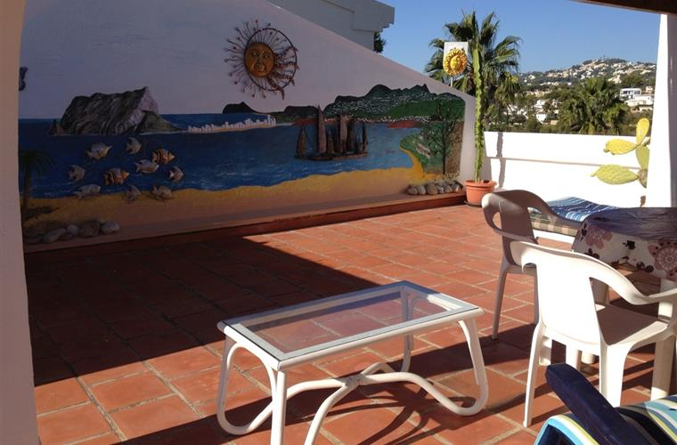The roof terrace and mural