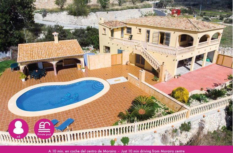 Holiday villa for 6 persons, 10 min driving from Moraira centre
