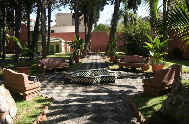 the old Arabic gardens and fountain at the tourist office