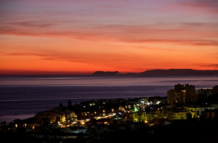 Sundown over Gibraltar from the terrace.