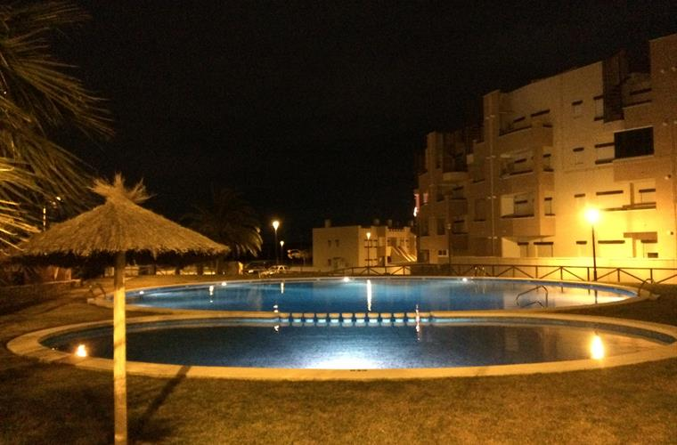 One of the 9 pools at night
