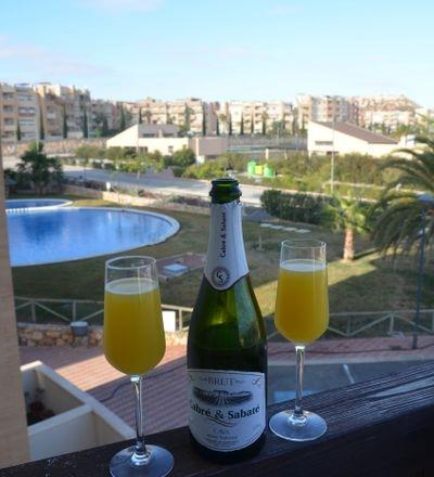 Cava Buck's Fizz in the balcony on Christmas Day morning 2017